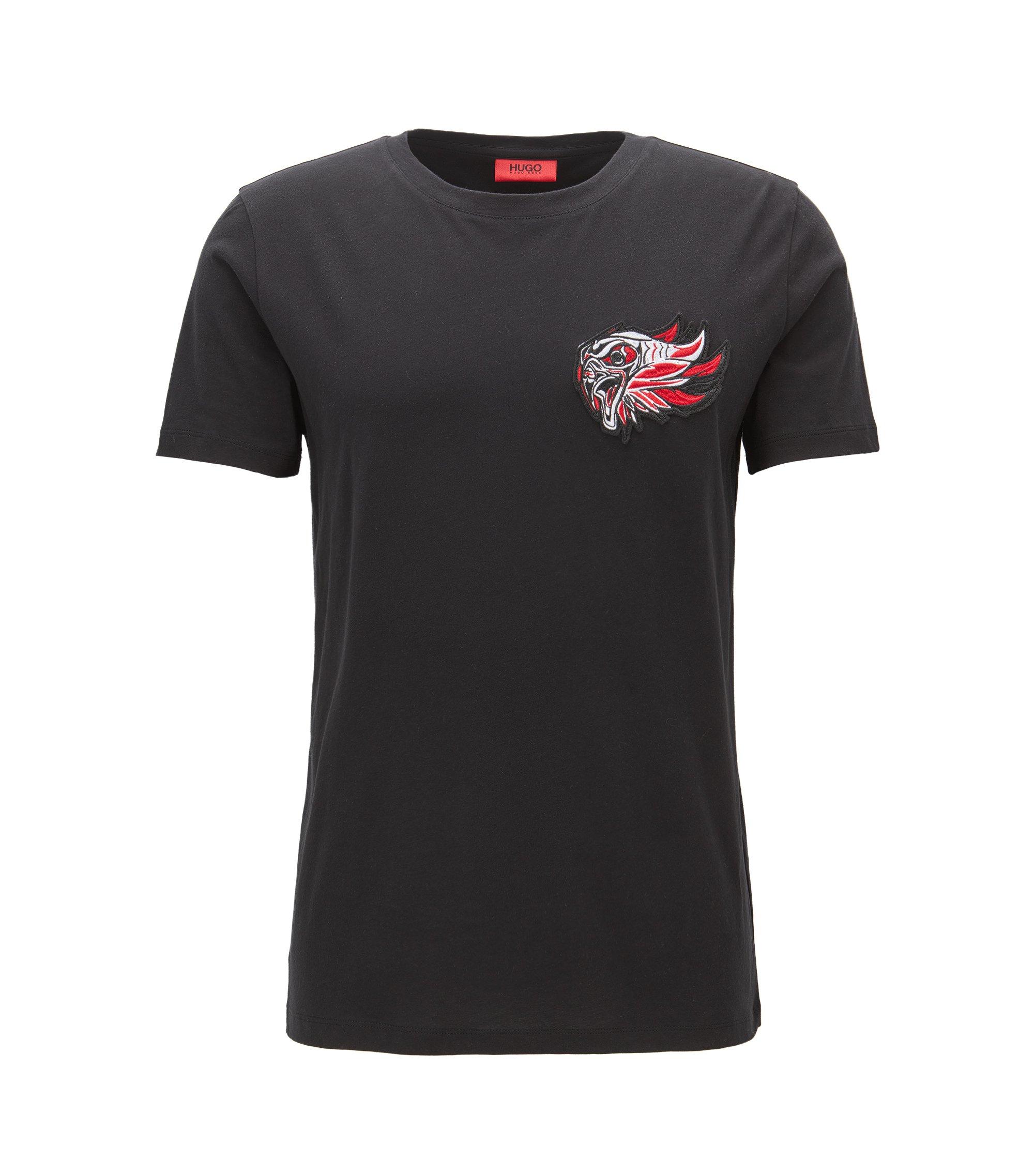 T-shirt Relaxed Fit en jersey à patch brodé, Noir