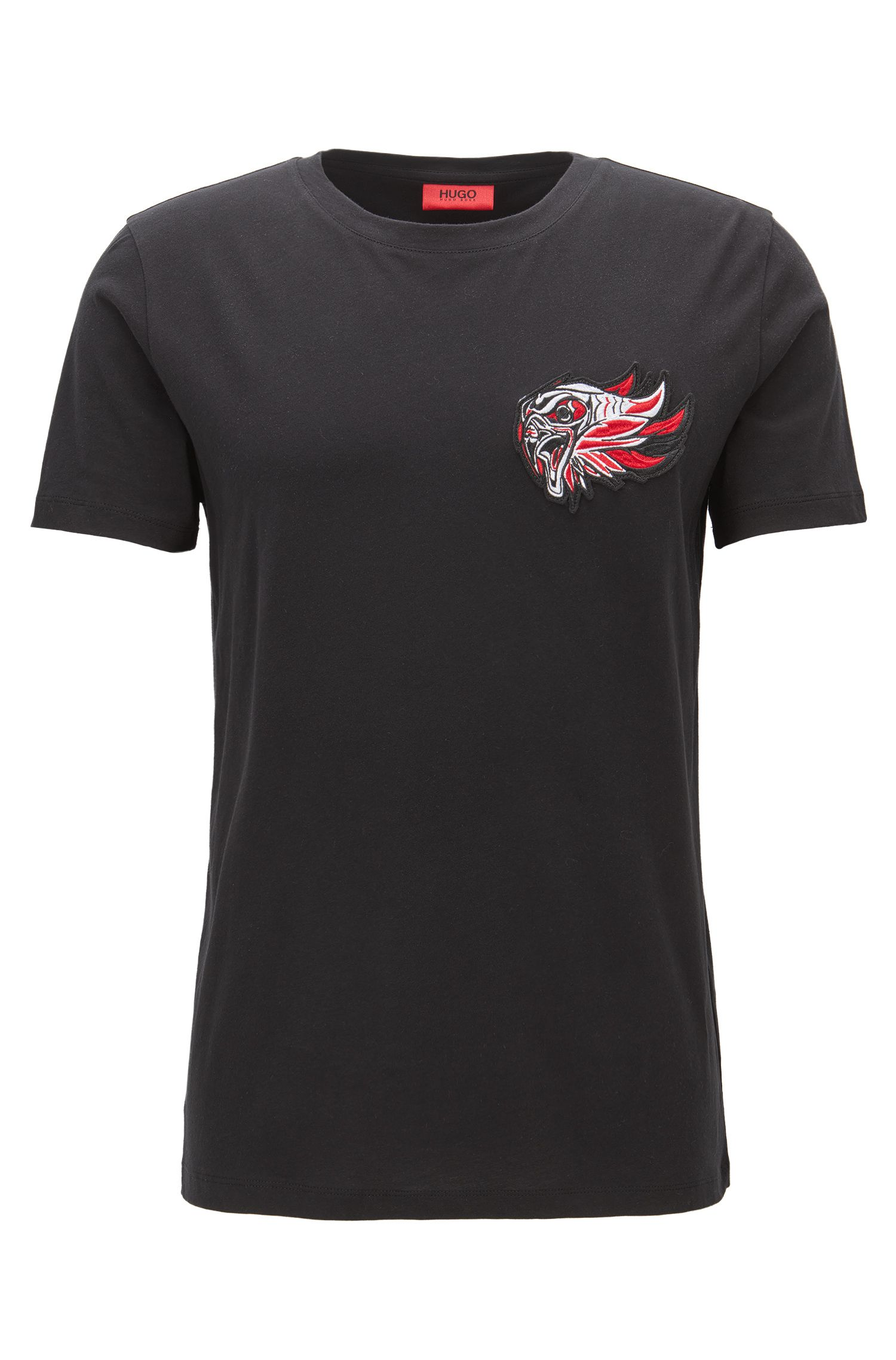 Relaxed-fit jersey T-shirt with embroidered patch