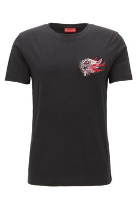 Relaxed-fit jersey T-shirt with embroidered patch, Black