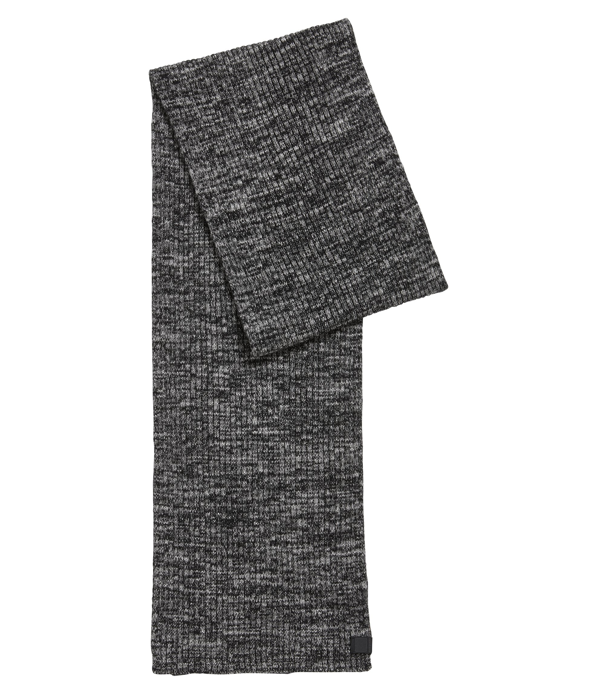 Geribde sjaal van een katoenmix in mouliné, Zwart