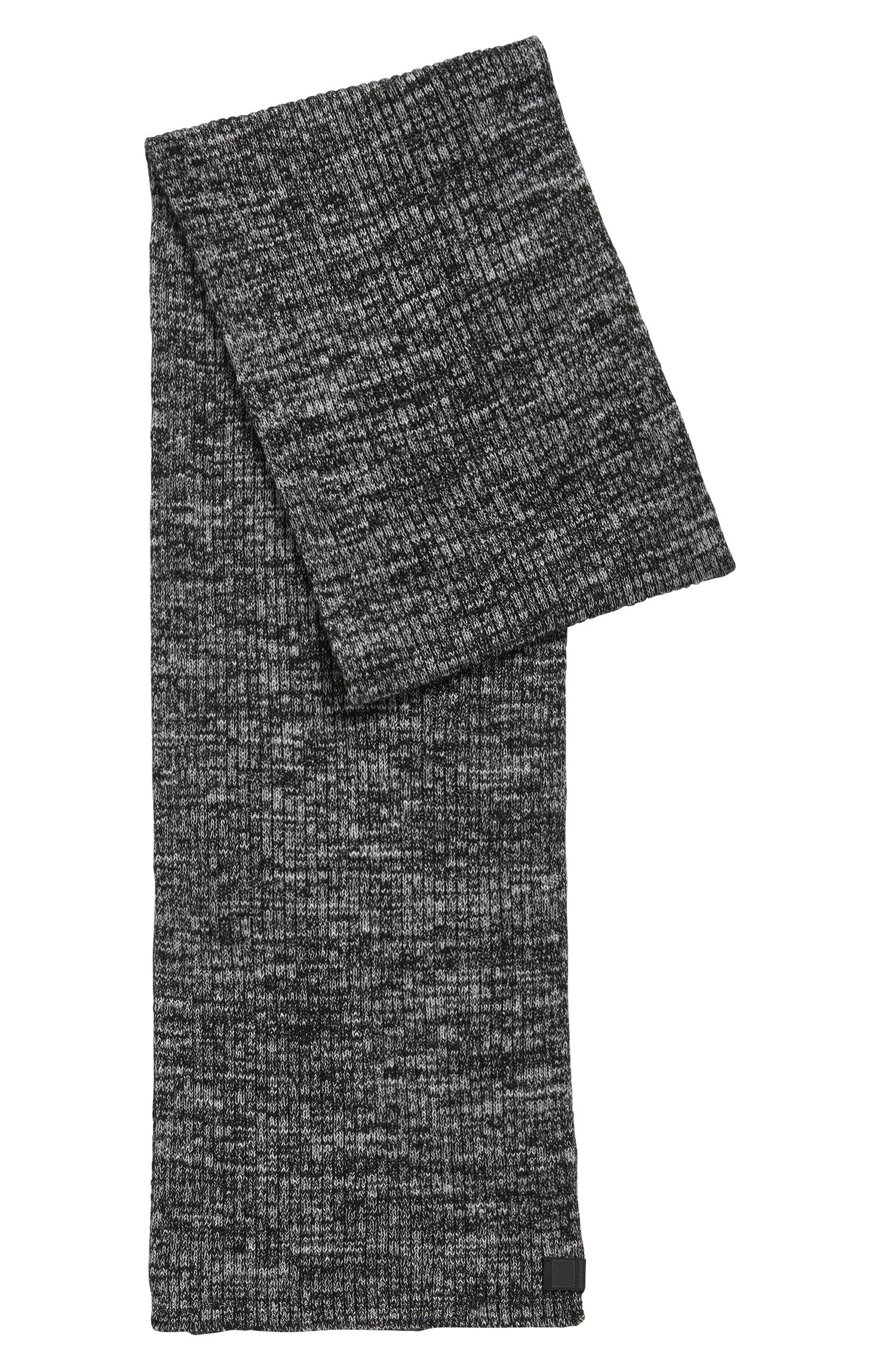 Ribbed scarf in a mouliné cotton blend
