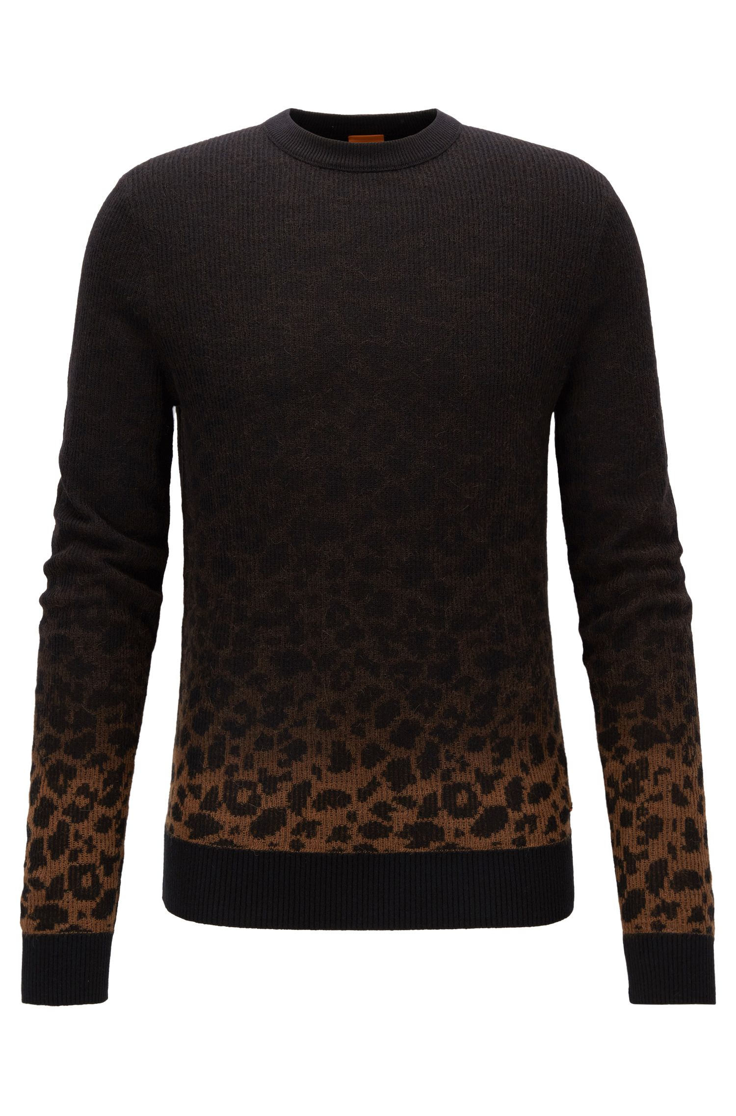 Regular-Fit Jacquard-Pullover mit Leoparden-Muster in Dégradé-Optik