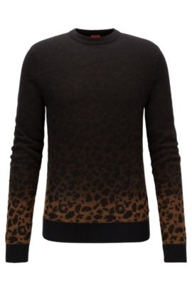 Dégradé sweater in a leopard-pattern jacquard, Dark Brown