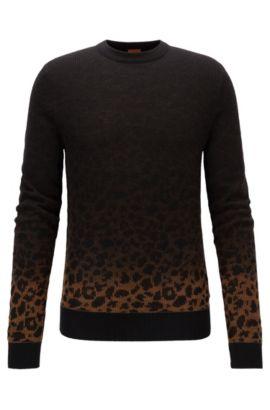 Dégradé sweater in a leopard-pattern jacquard, Dark Brown
