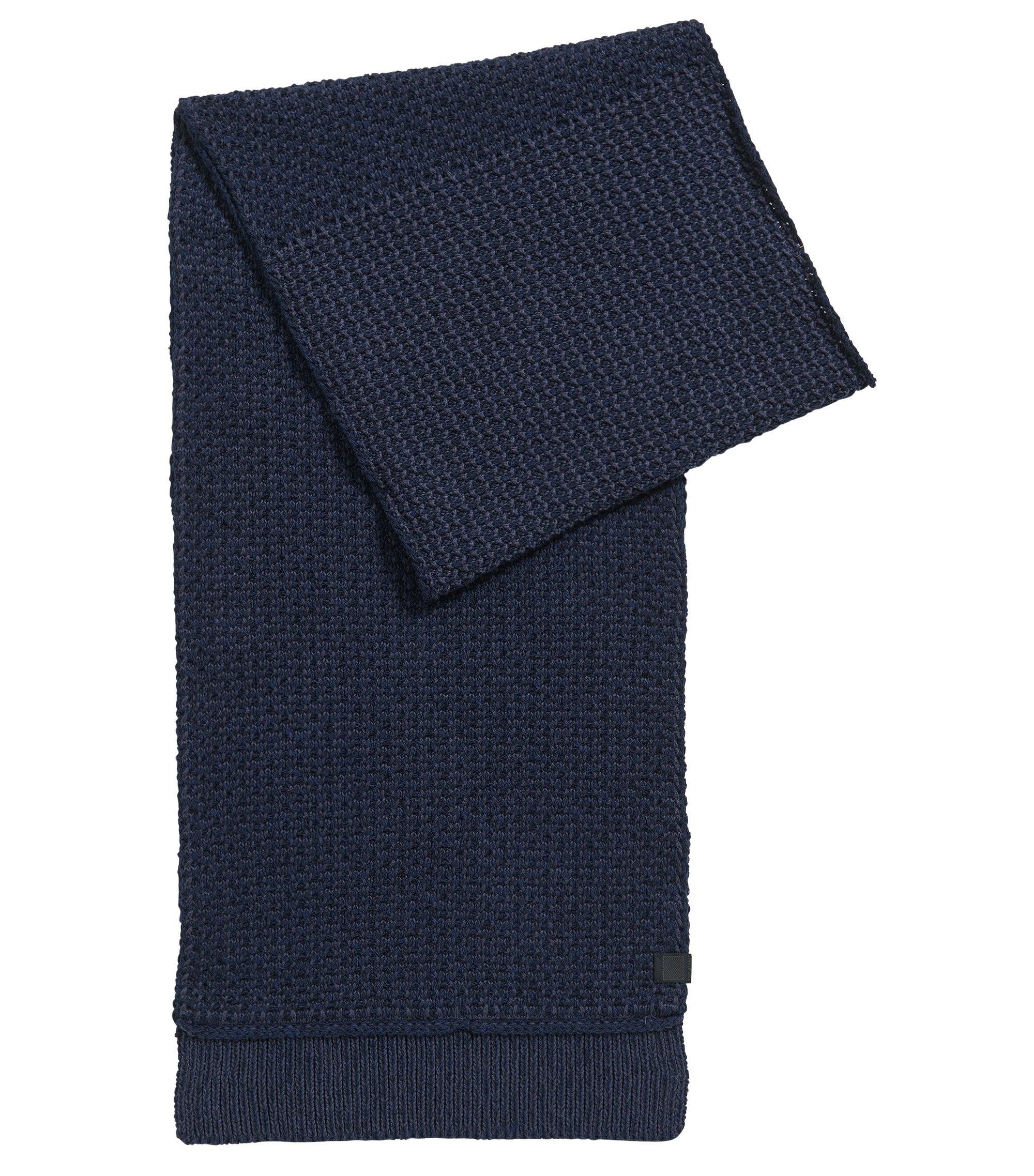 Structured scarf in knitted cotton, Dark Blue