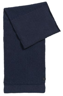 Structured scarf in knitted cotton, Dunkelblau