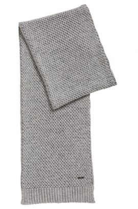 Chunky-knit scarf in a cashmere blend, Light Grey