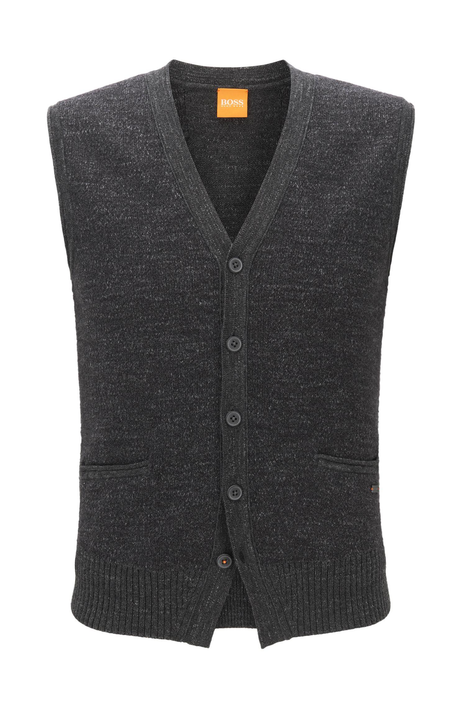 Gilet a cinque bottoni in cotone lavorato a maglia