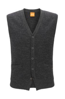 Gilet a cinque bottoni in cotone lavorato a maglia, Grigio scuro