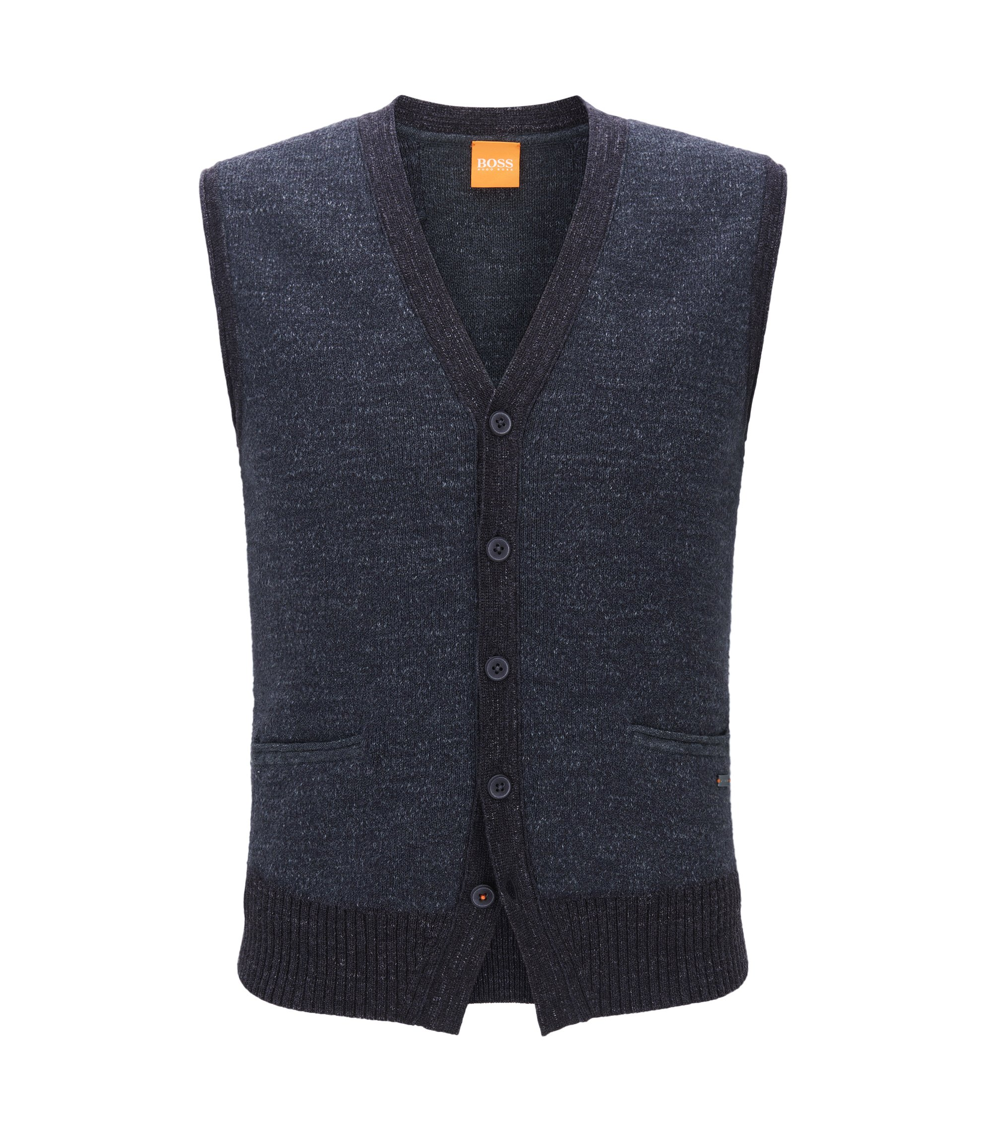 Five-button waistcoat in knitted cotton, Dark Blue