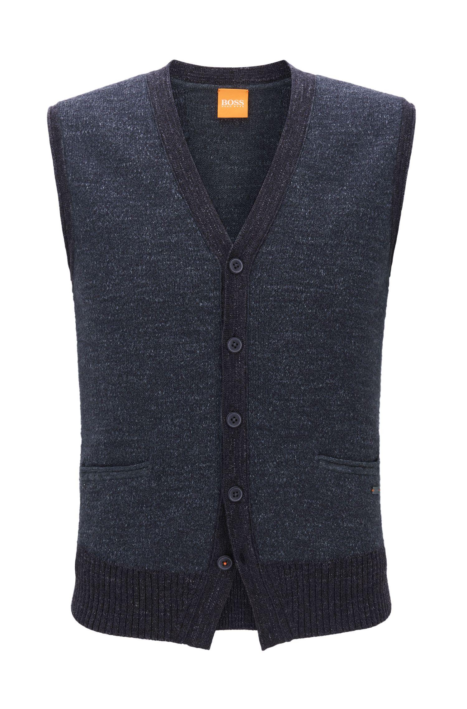 Regular-Fit-Weste aus Baumwolle mit Fünf-Knopf-Leiste