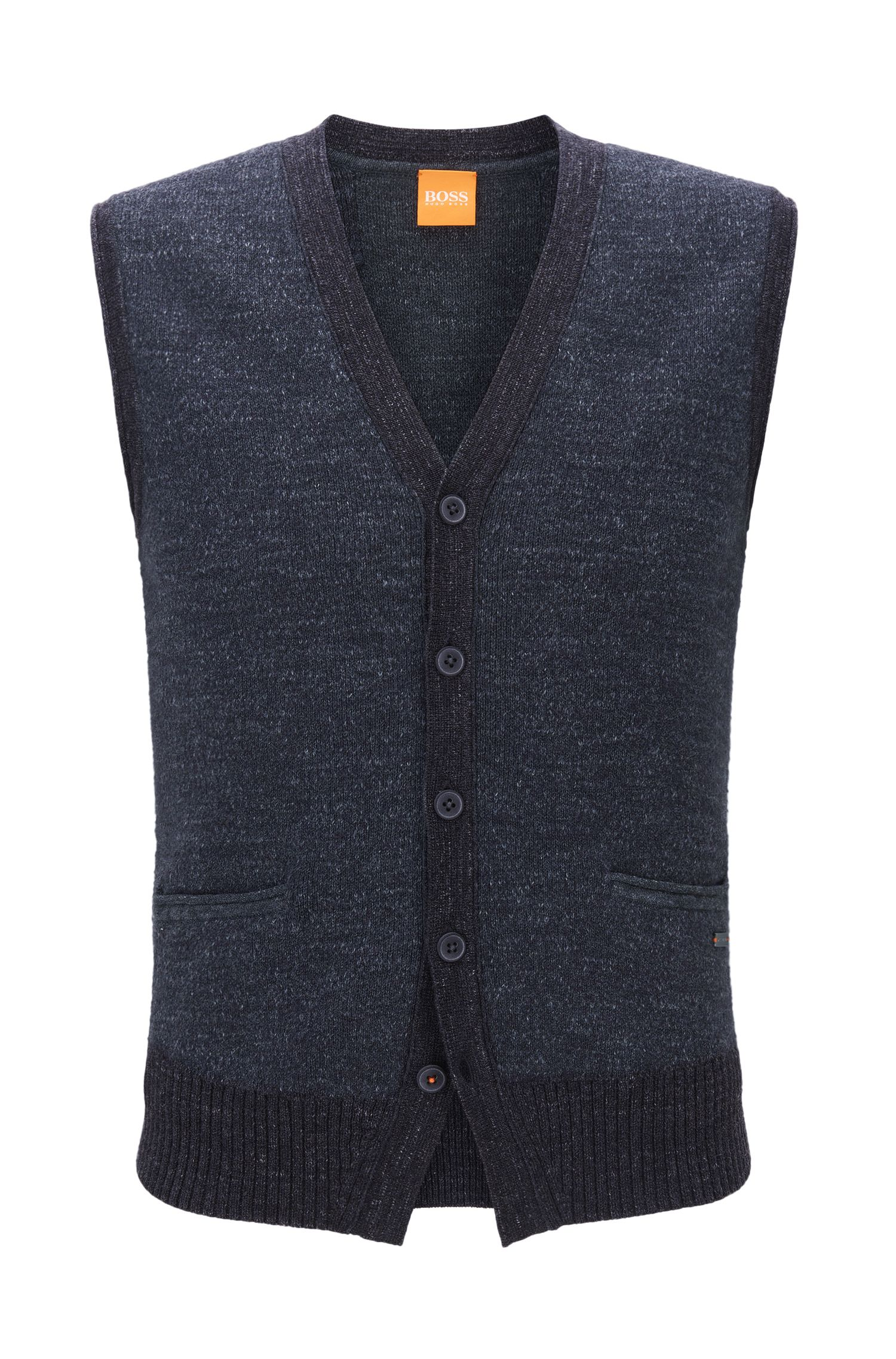 Five-button waistcoat in knitted cotton