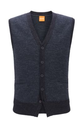 Gilet a cinque bottoni in cotone lavorato a maglia, Blu scuro