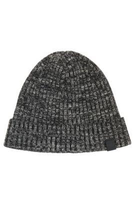 Bonnet en maille côtelée de fil mouliné, en coton mélangé, Noir