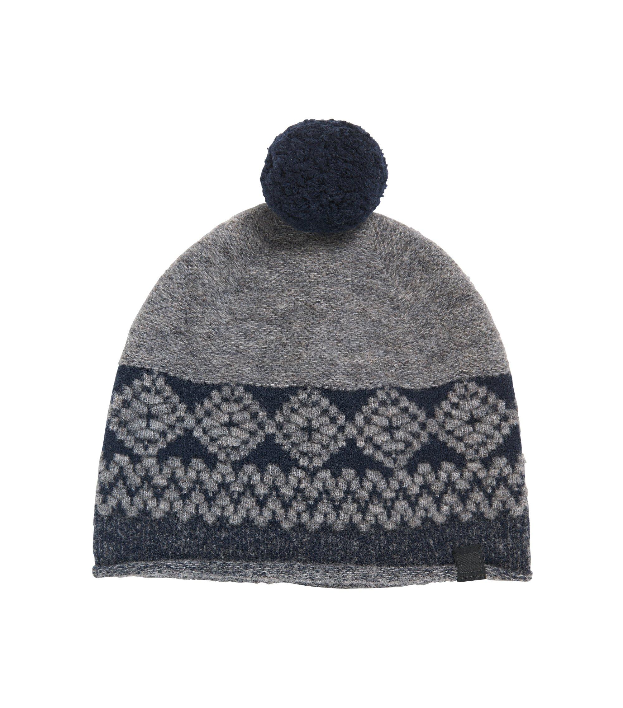 Bommelmütze aus Schurwoll-Mix mit Wolle , Grau