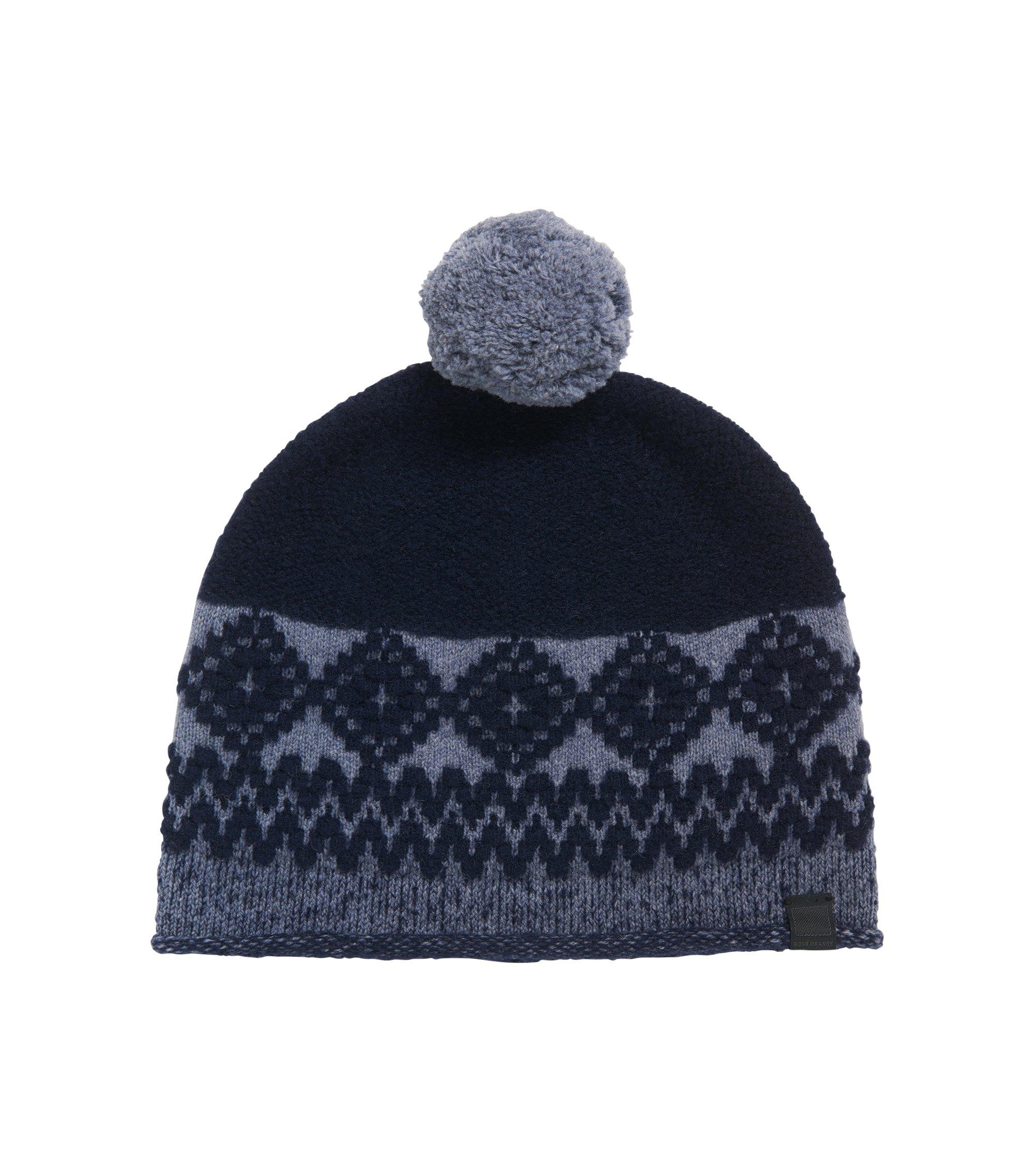 Bonnet en laine mélangée à pompon , Bleu foncé