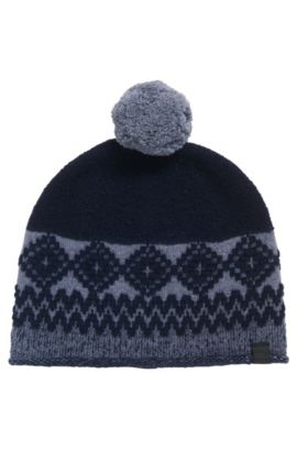 Wool-blend beanie hat with pom pom , Dark Blue