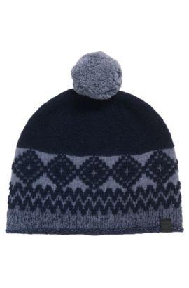 Gorro de punto en mezcla de lana con borla , Azul oscuro