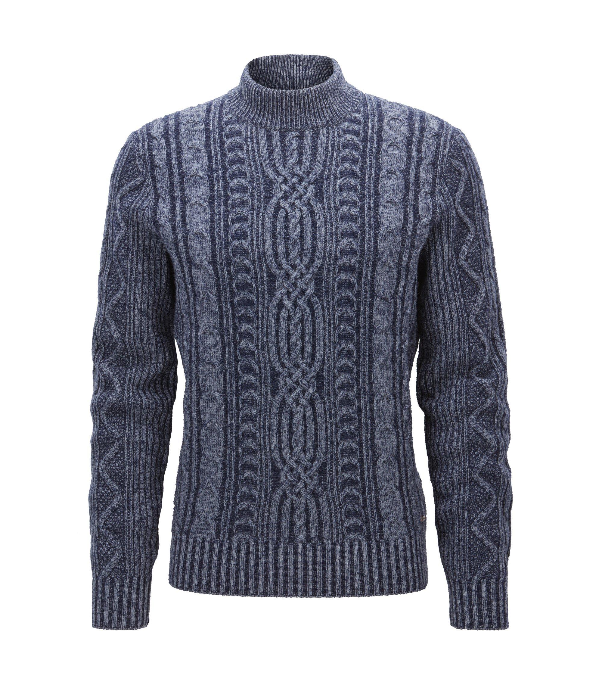 Mock turtle-neck sweater in a wool blend, Dark Blue