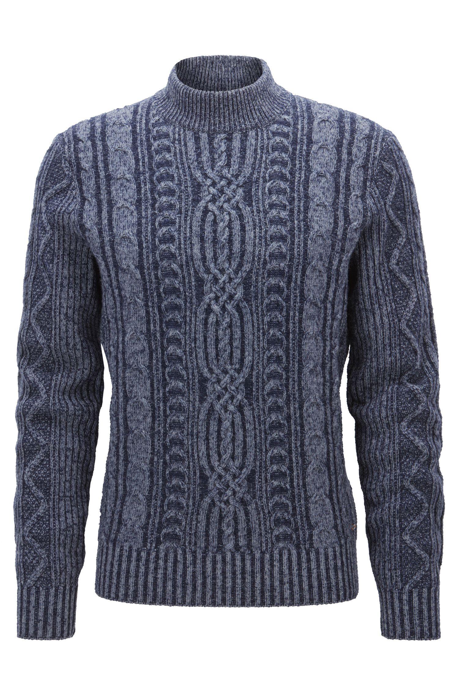 Mock turtle-neck sweater in a wool blend