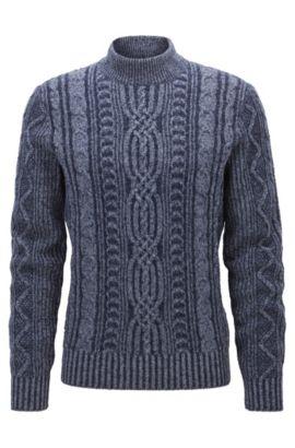 Pull à col cheminée en laine mélangée, Bleu foncé