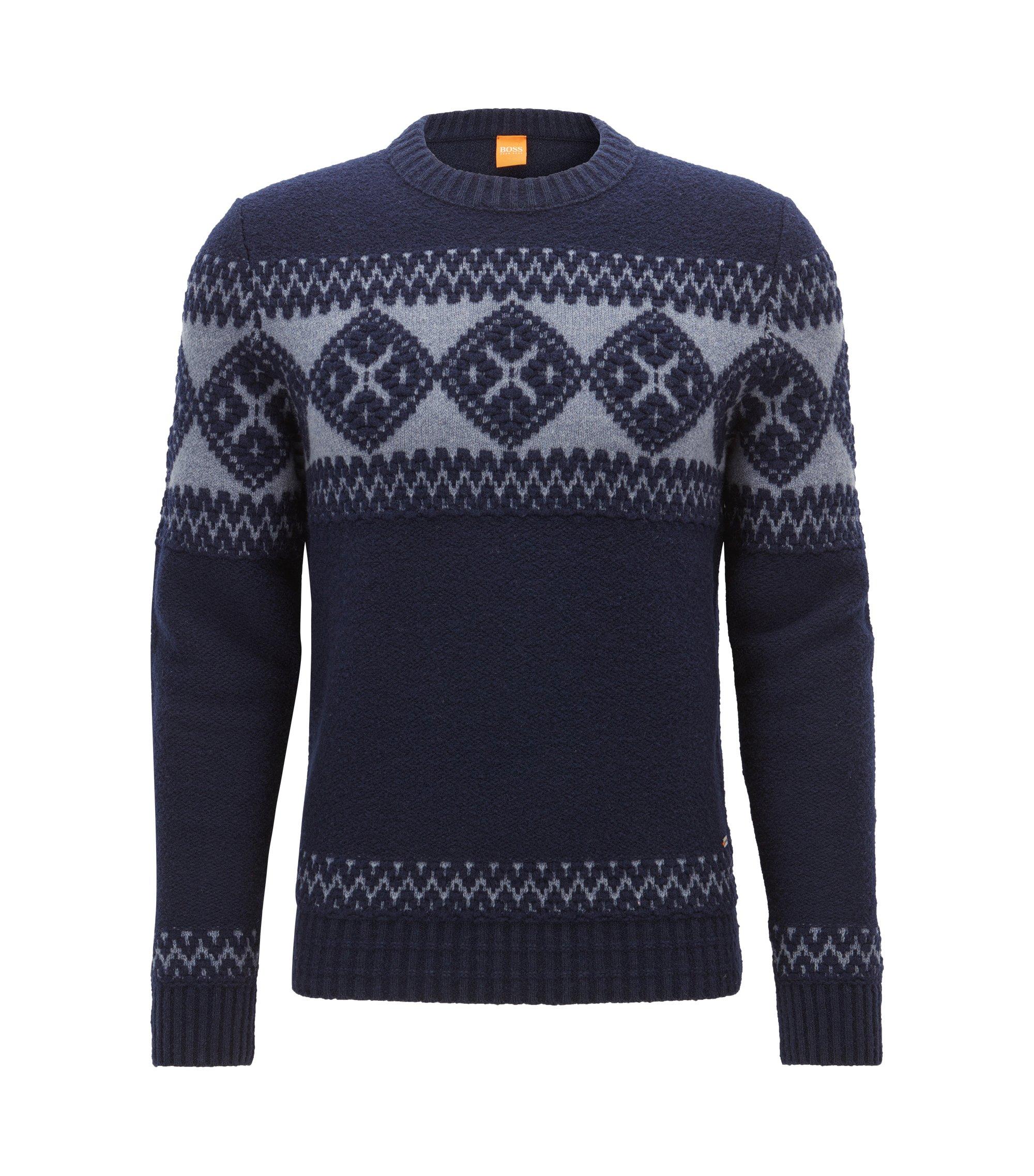 Jersey de punto en mezcla de lana virgen, Azul oscuro