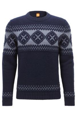 Pull en maille de laine vierge mélangée, Bleu foncé