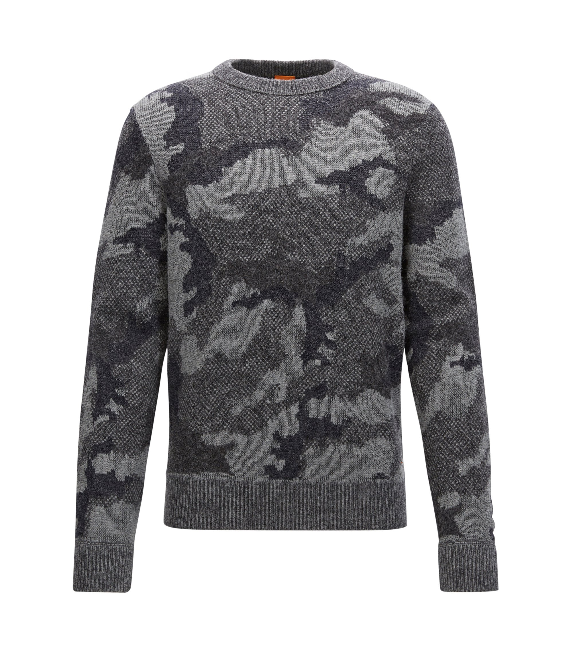 Regular-Fit-Strickpullover aus Material-Mix mit Camouflage-Muster, Gemustert