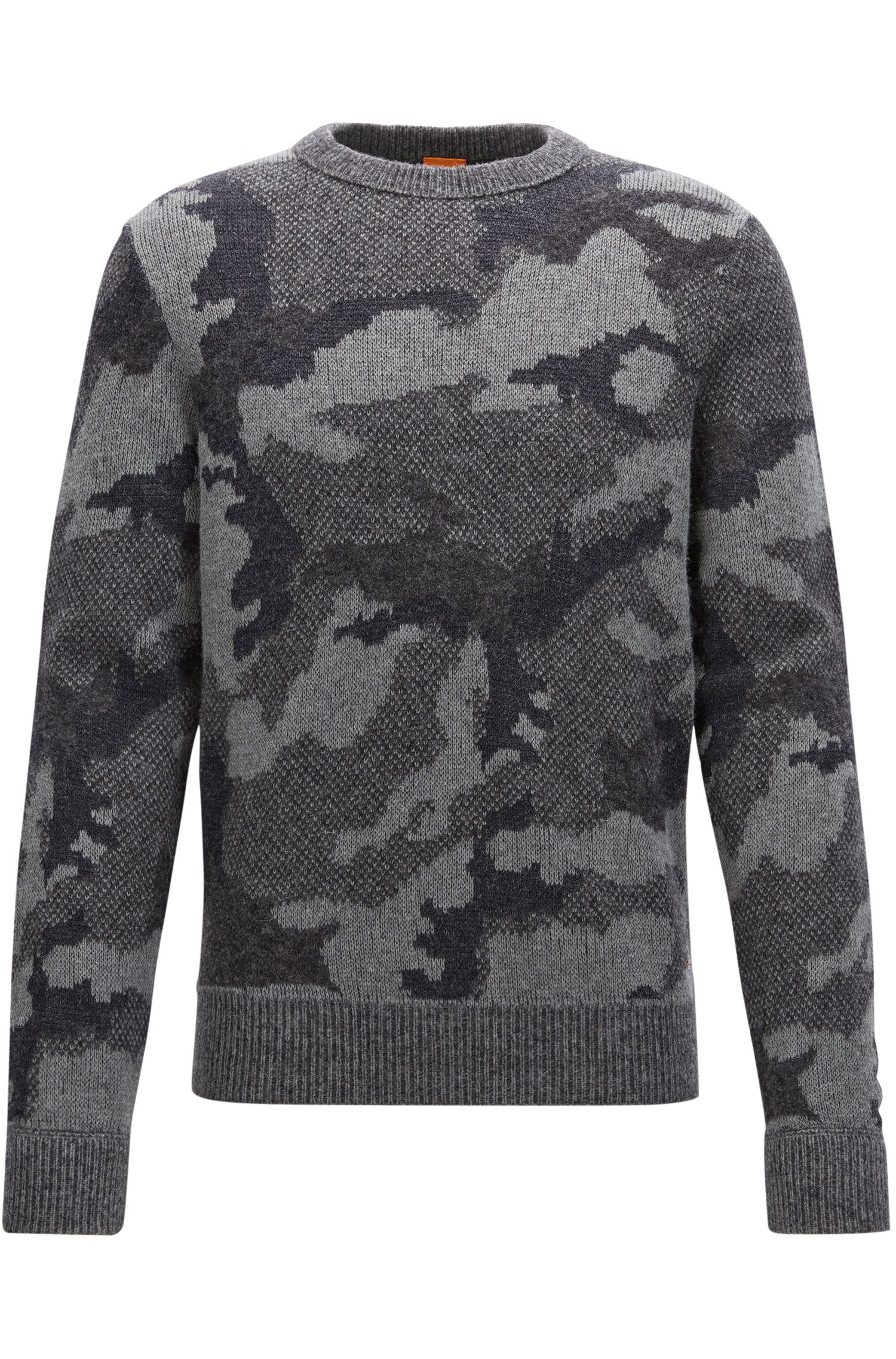 Knitted sweater with 3D camouflage pattern