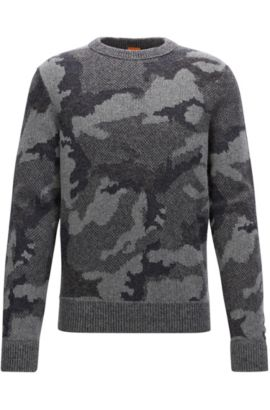 Knitted sweater with 3D camouflage pattern, Patterned