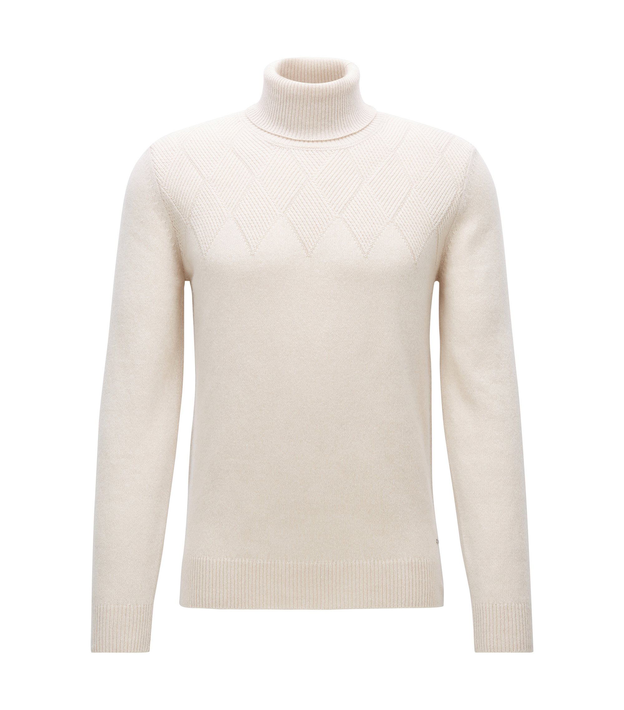 Diamond-structure sweater in a cashmere blend, Natural