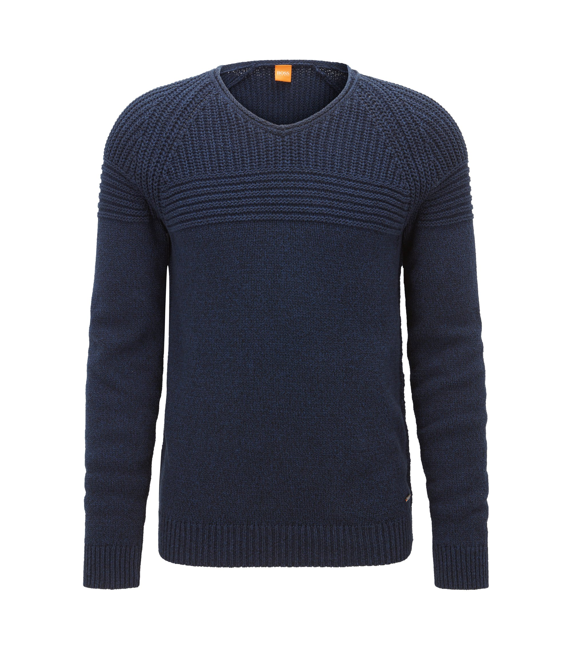 Rib-panelled cotton sweater, Dark Blue