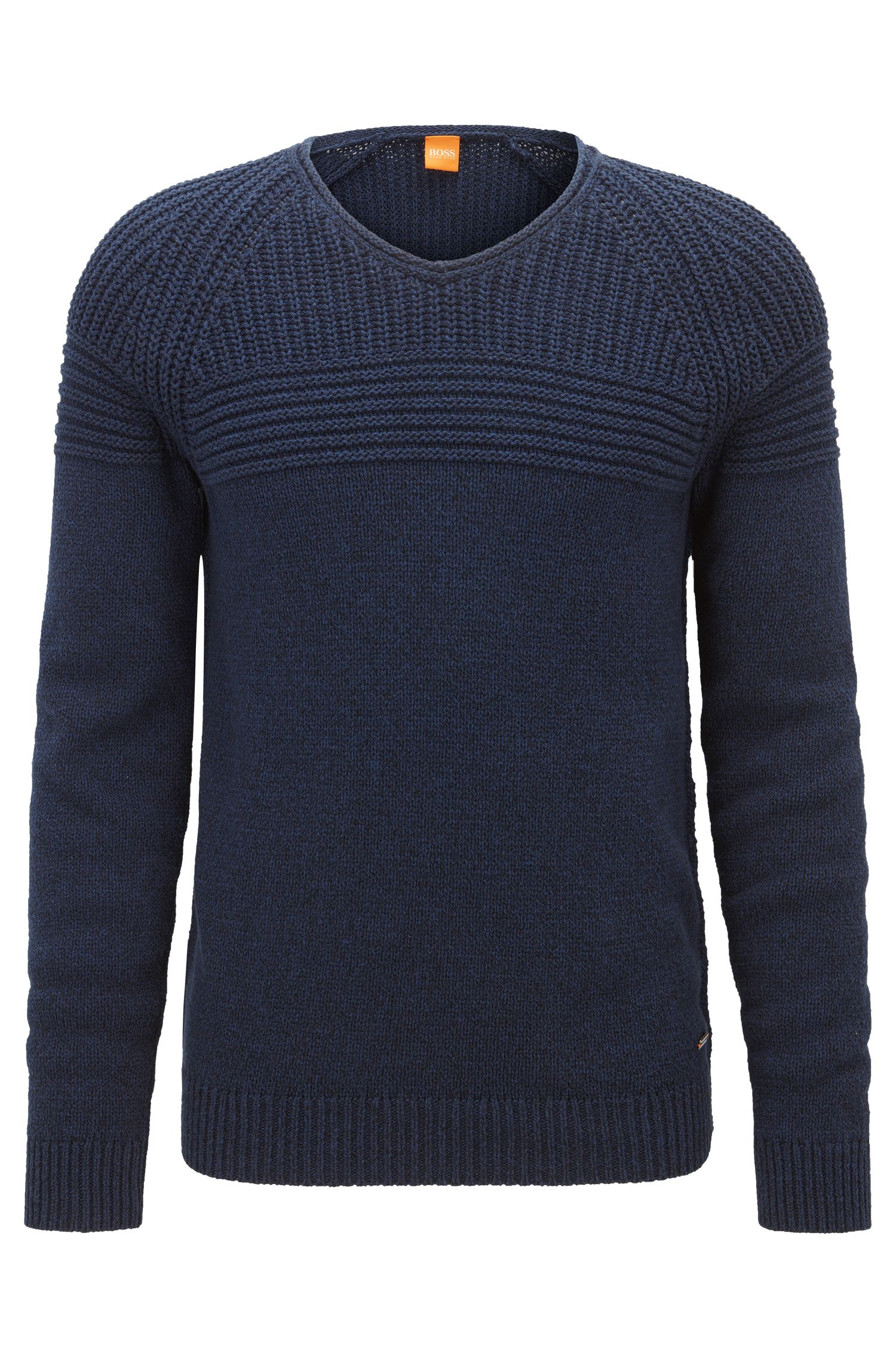 Rib-panelled cotton sweater