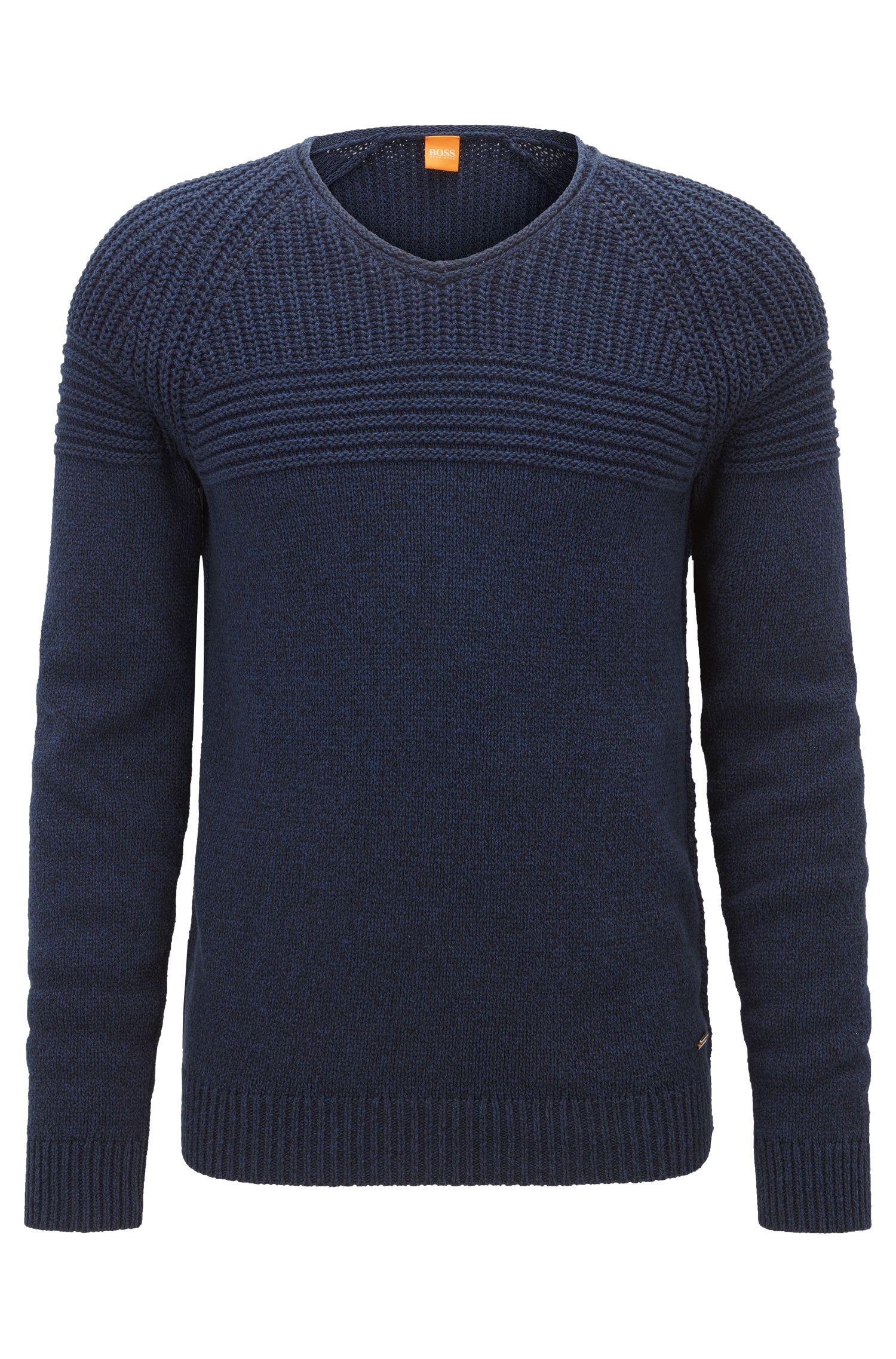 Rib-panelled cotton sweater