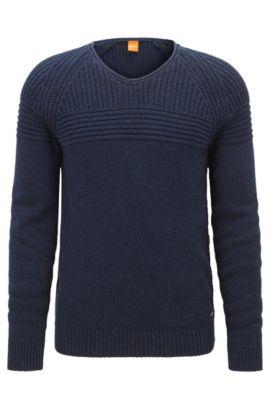 Regular-Fit Pullover aus gerippter Baumwolle, Dunkelblau