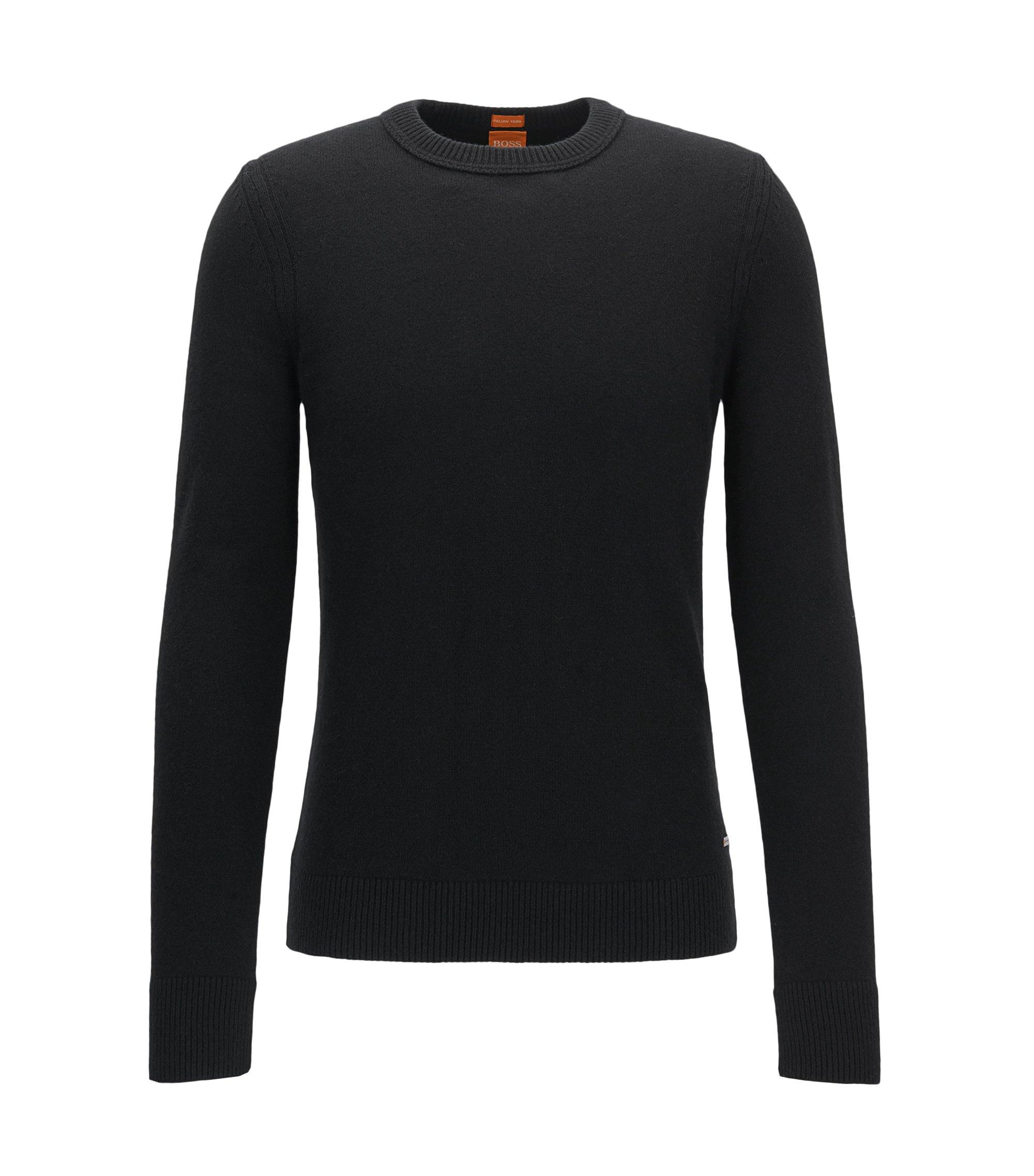 Crew-neck sweater in Italian yarn, Black