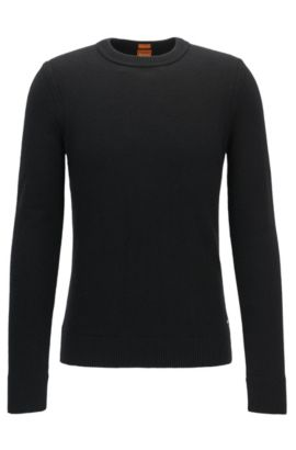 Crew-neck sweater in Italian yarn, Black