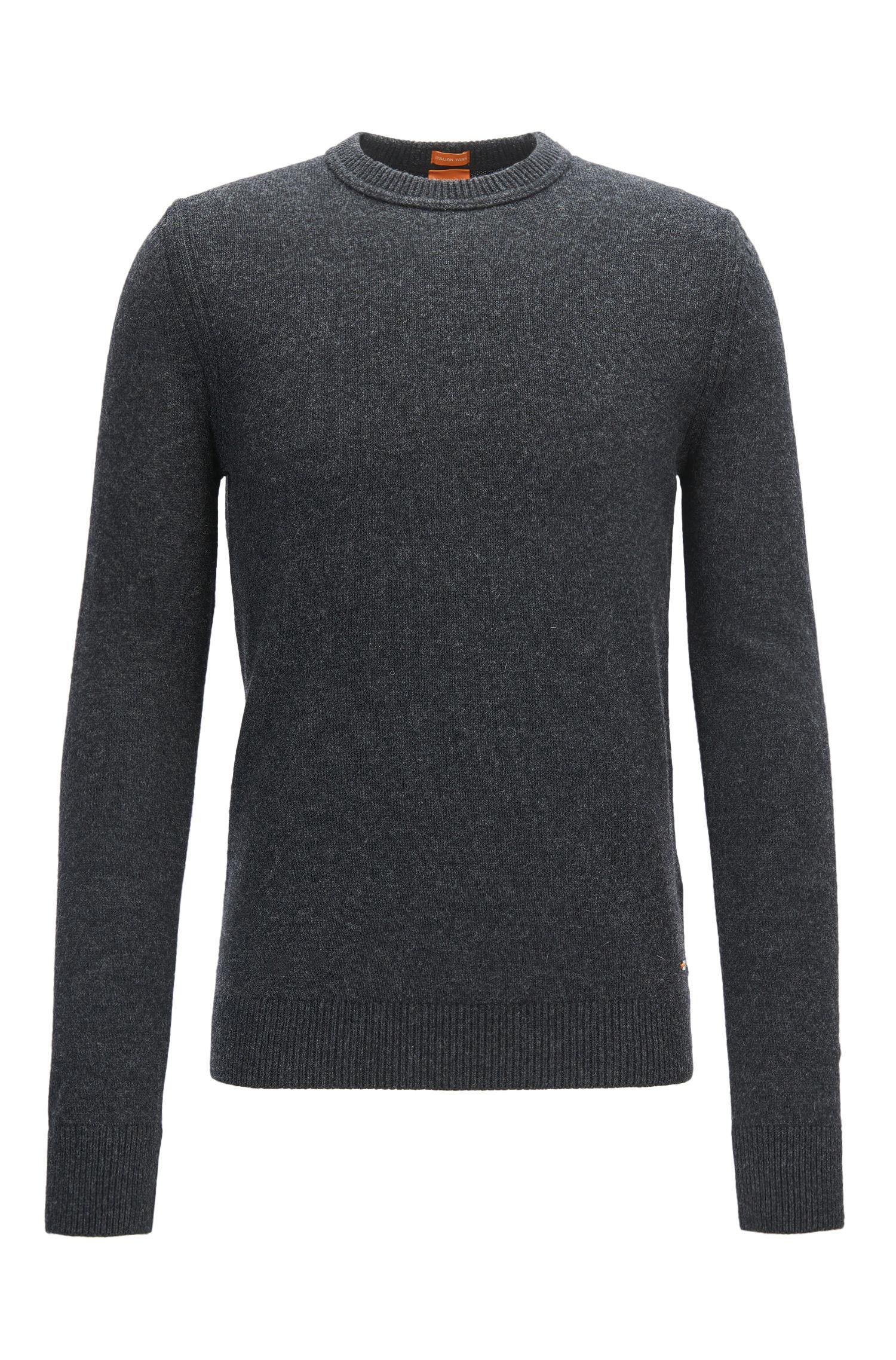 Regular-Fit Rundhals-Pullover aus italienischem Baumwoll- und Woll-Mix