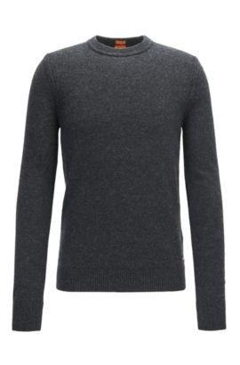 Crew-neck sweater in Italian yarn, Dark Grey
