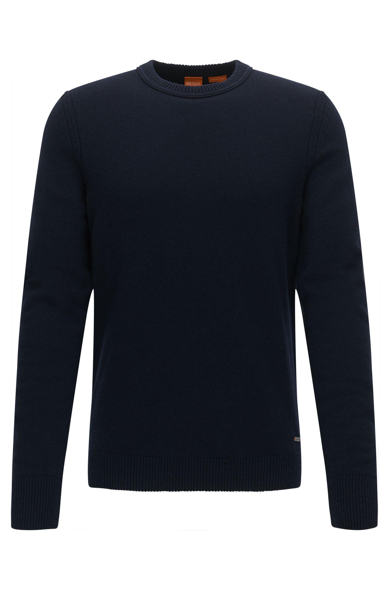 Crew-neck sweater in Italian yarn