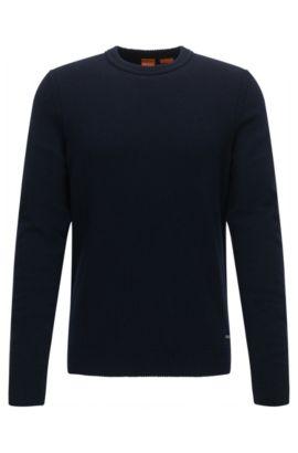 Regular-Fit Rundhals-Pullover aus italienischem Baumwoll- und Woll-Mix, Dunkelblau