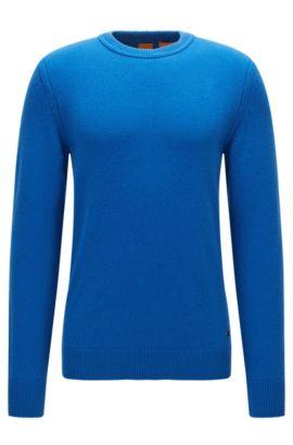 Regular-Fit Rundhals-Pullover aus italienischem Baumwoll- und Woll-Mix, Blau
