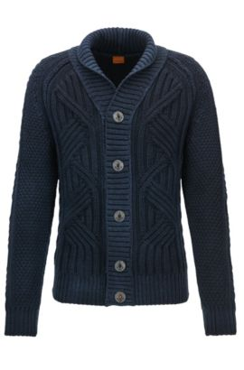 Cable-knit cardigan in virgin wool, Dark Blue