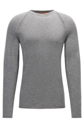 Crew-neck sweater in Italian fabric, Light Grey