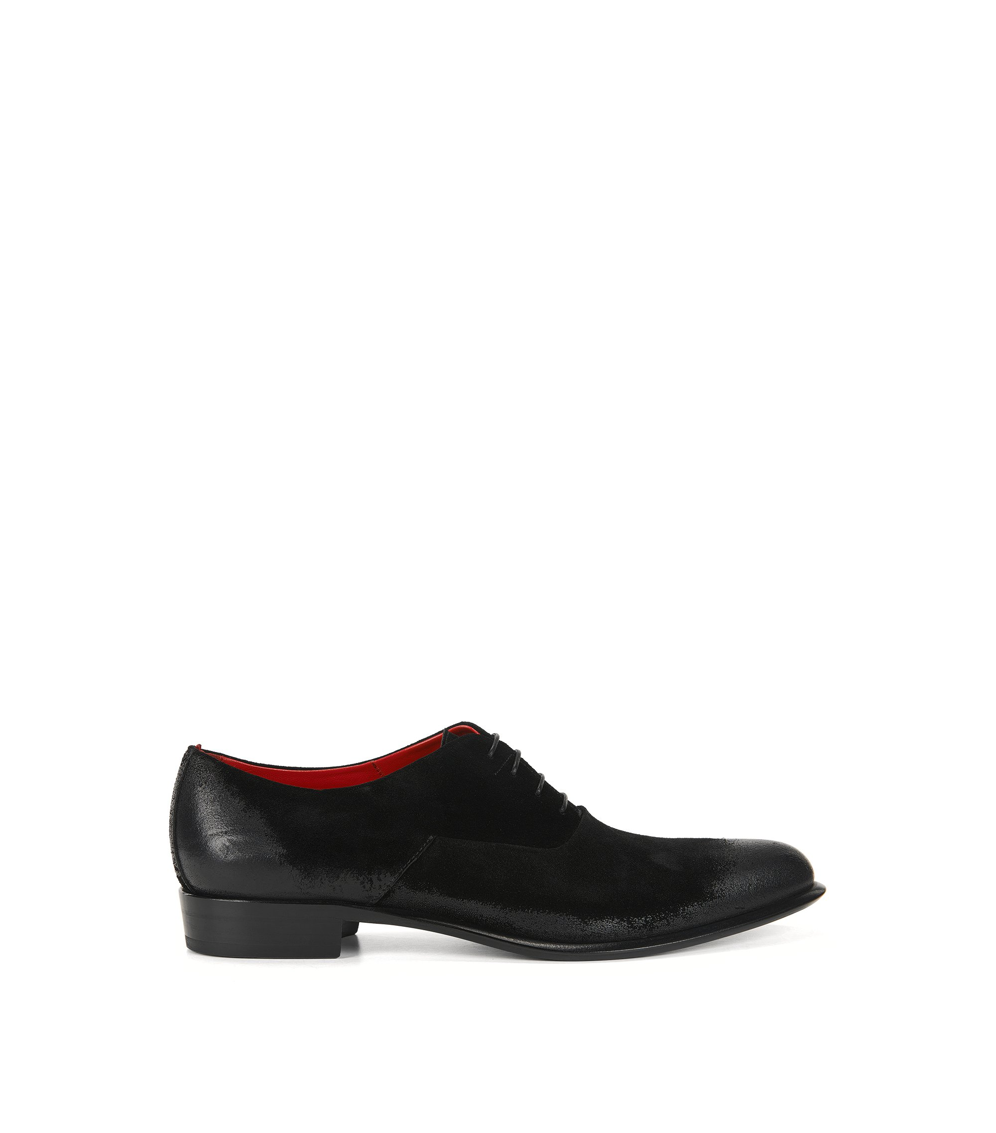 Oxford shoes in brushed suede, Black
