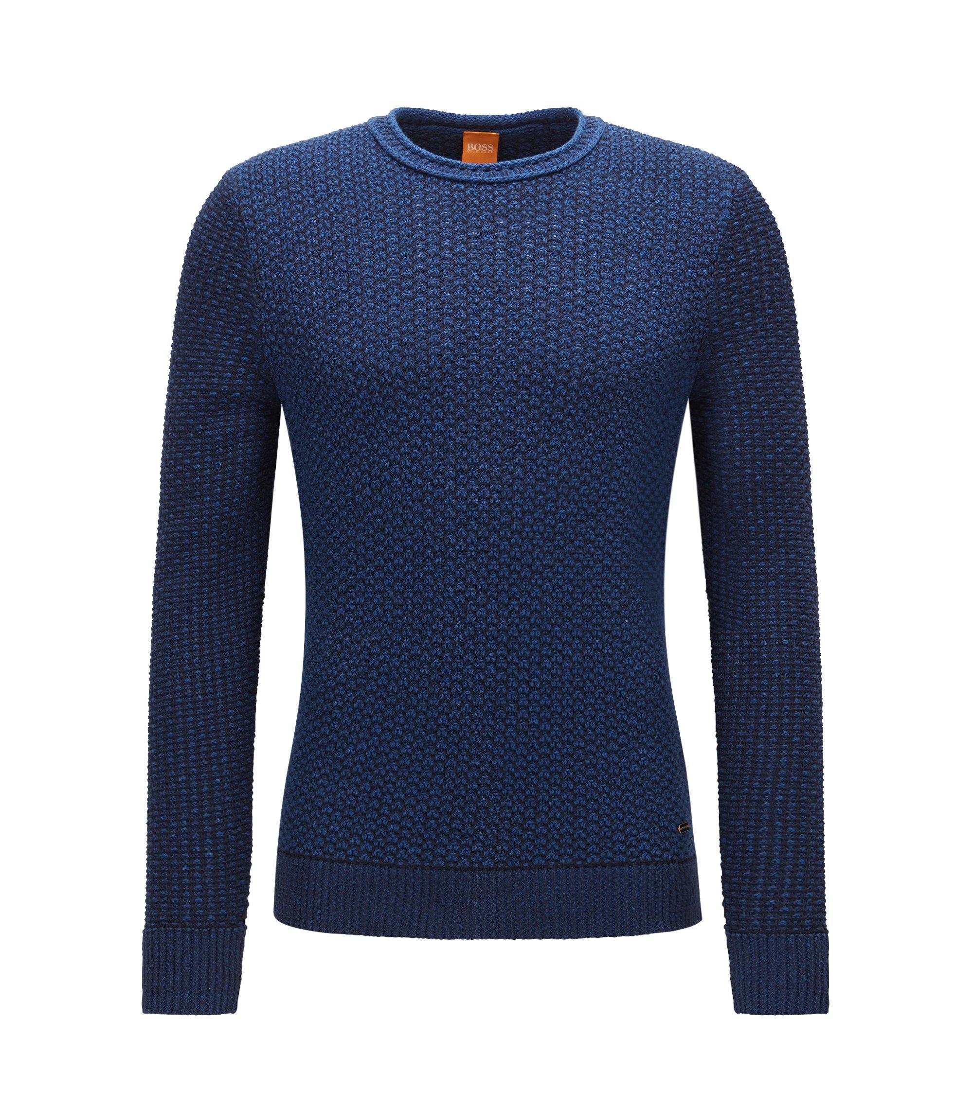 Jersey de cuello redondo en algodón con estructura, Azul