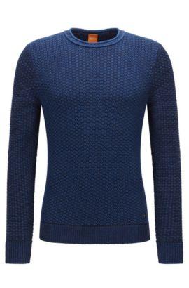 Regular-Fit Pullover aus strukturierter Baumwolle, Blau