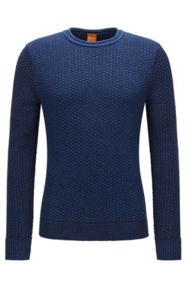 Crew-neck sweater in structured cotton, Blue