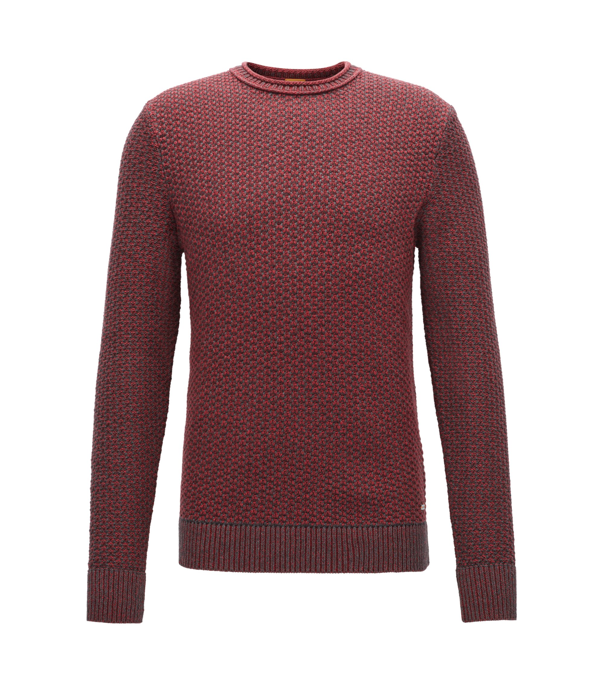 Crew-neck sweater in structured cotton, Red