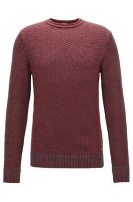Regular-Fit Pullover aus strukturierter Baumwolle mit Rundhalsausschnitt, Rot